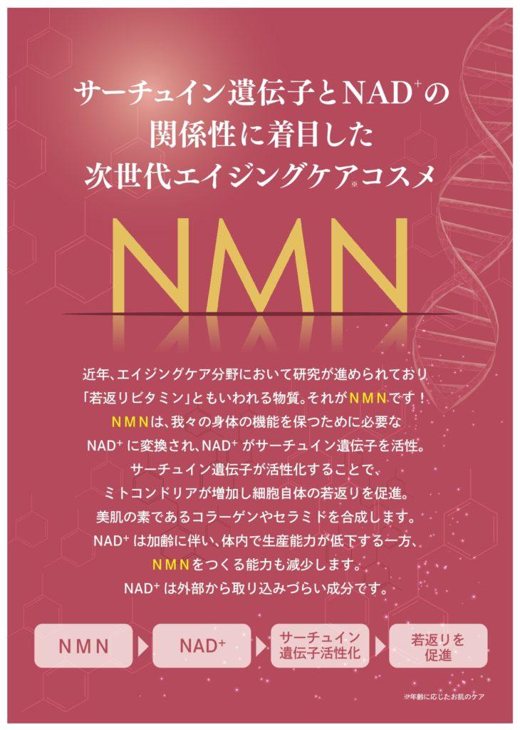 サーチュイン遺伝子とNAD+の関係性に着目した次世代エイジングケアコスメNMN